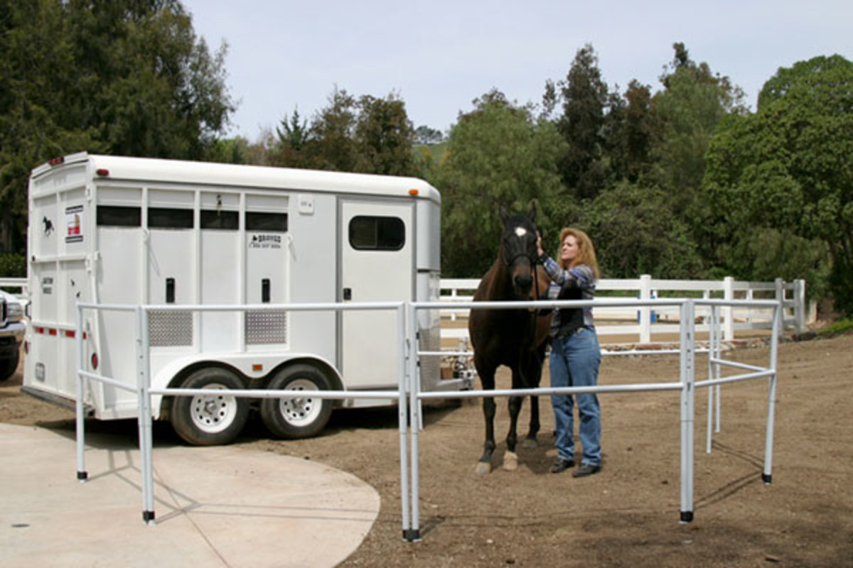 Corrals-2-Go constructs its solid metal panels from three-quarter-inch square tubing. Matching racks bolt to the side of a horse trailer, so the panels can be hung on them for storage and transport (typically over the trailer wheel wells).