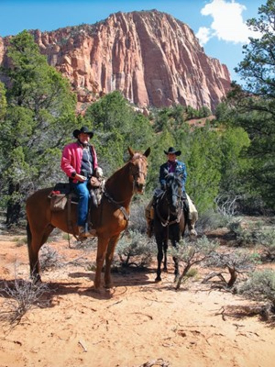 "Kent and Charlene Krone ride Cowboy and Nate to Kolob Arch in Zion National Park, known for its  stunning canyons and breathtaking scenery. ""The ride to Kolob Arch is considered one of the most beautiful rides in Utah,"" write the Krones."
