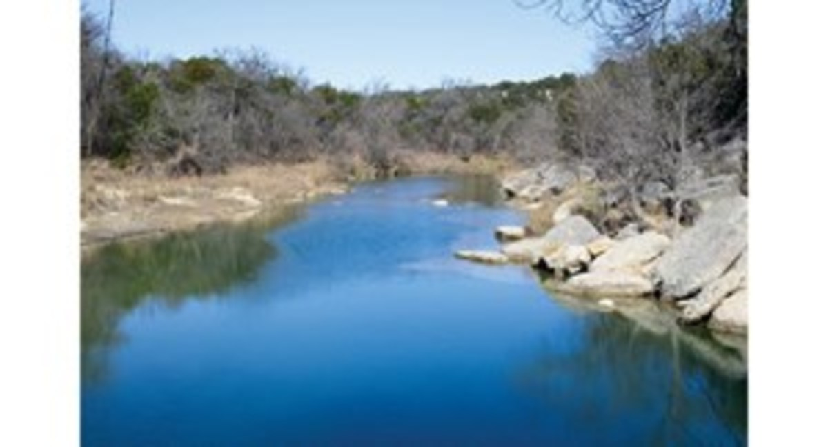 Dinosaur Valley State Park contains 1,523 acres of oaks and Ashe junipers in the upland areas, and cedar elms in the creek bottoms. The terrain is varied, with mountains, cliffs, and the Paluxy River. Eroded, layered rock formations show dinosaur prints from the Cretaceous Period.