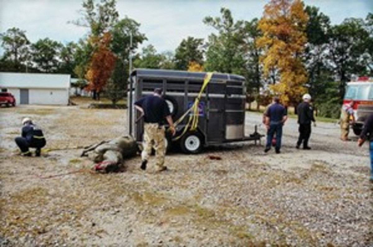 Credit: Irvin Lichtenstein Your search-and-rescue training will likely in clude large-animal-rescue exercises. Shown is a trailer exercise with a horse mannequin.