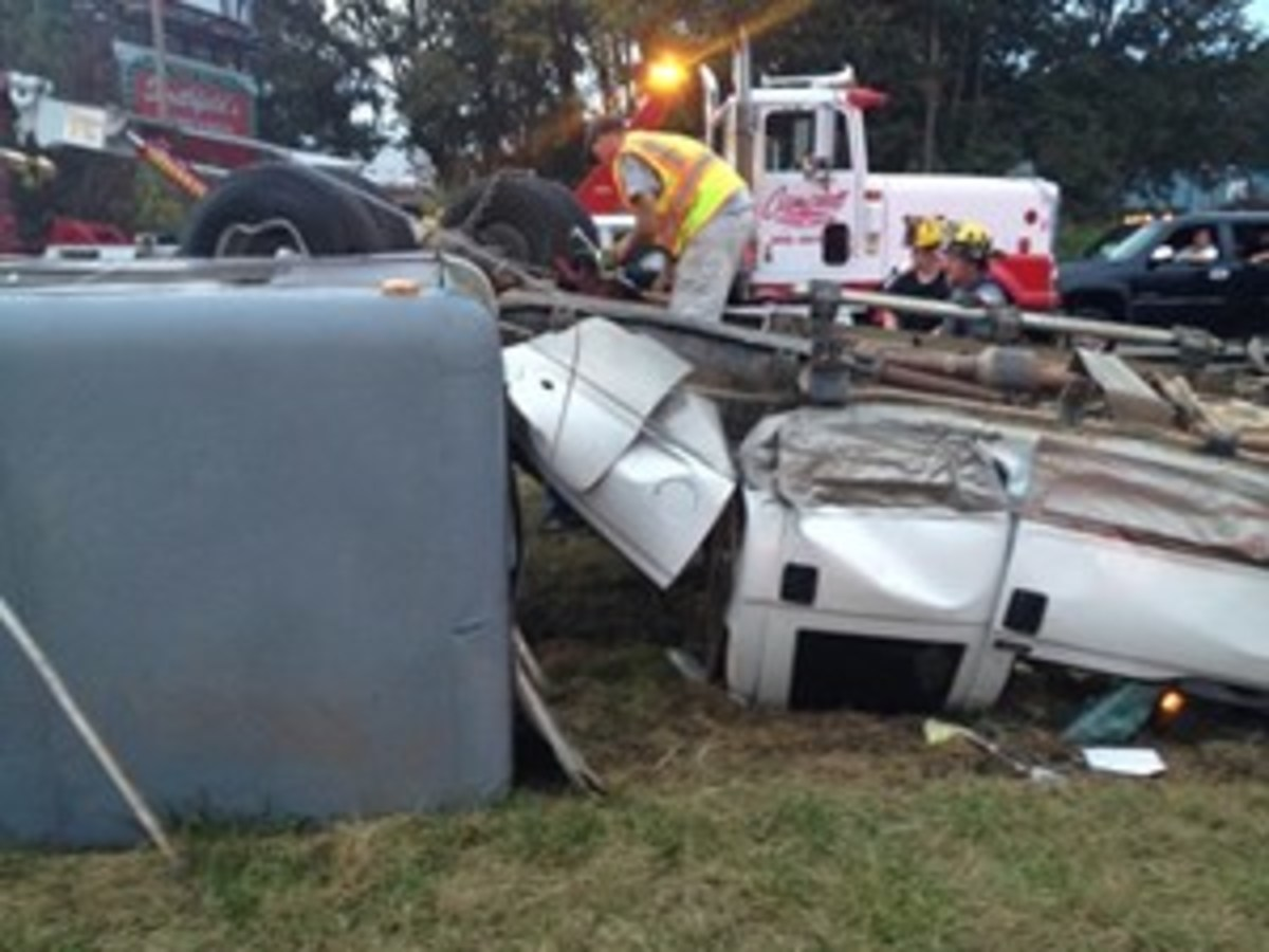 Credit: JUSTIN MCLEOD  In a TLAER Awareness Level Course, you'll learn how to work with emergency responders to safely cut a trailer and use manipulation methods to remove horses from actual overturned or destroyed trailers. Shown is an actual trailer wreck in North Carolina.