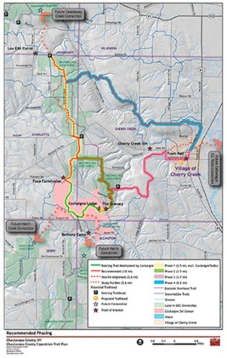 Map of the Chautauqua County Equestrian Trail System.