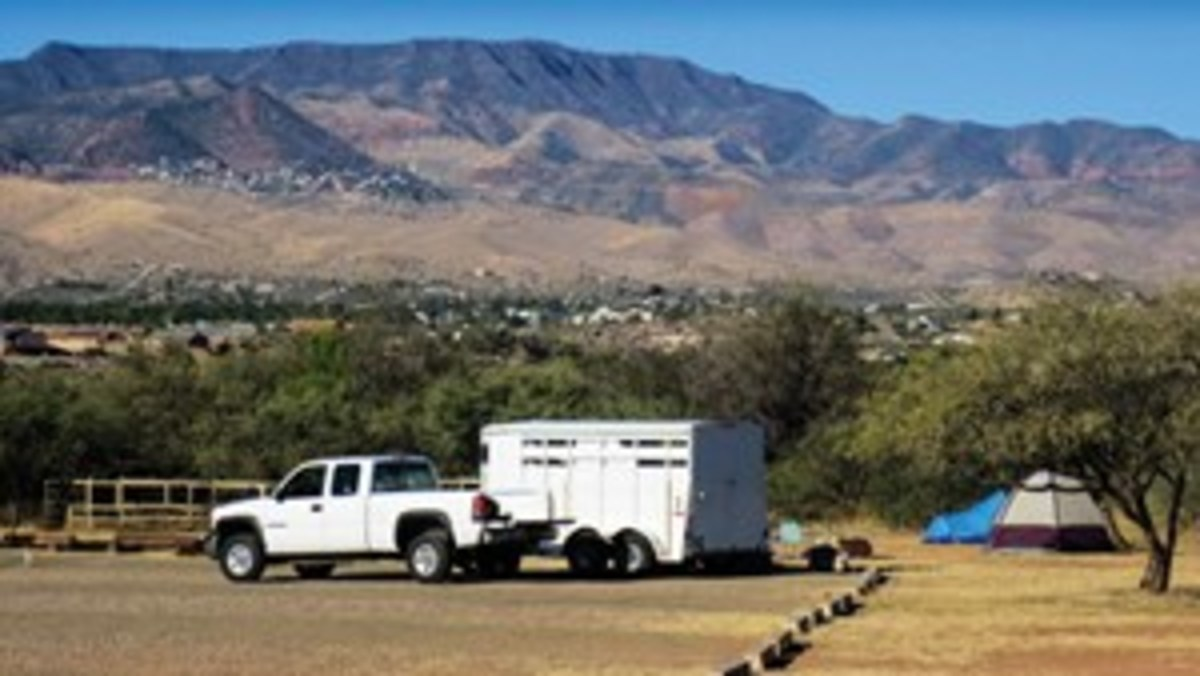 """Jule Drown's camping spot at Dead Horse Ranch State Park. """"This site is situated along a river, near trees,  and adjacent to the trail system,"""" notes Drown."""