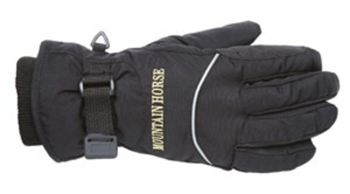 Credit: Courtesy of Mountain Horse USA Insulated riding gloves will let you  deal with weather extremes.  Warmth, flexibility, and  grip all matter. Shown are  fleece-lined Trail Winter riding gloves  from Mountain Horse USA.