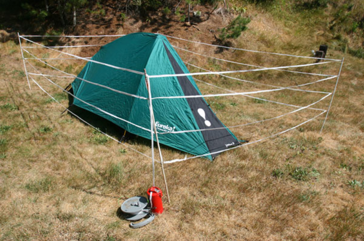 """""""In grizzly country, we take a separate spool of electric tape and put a four-strand electric fence around our tent,"""" say the Krones."""