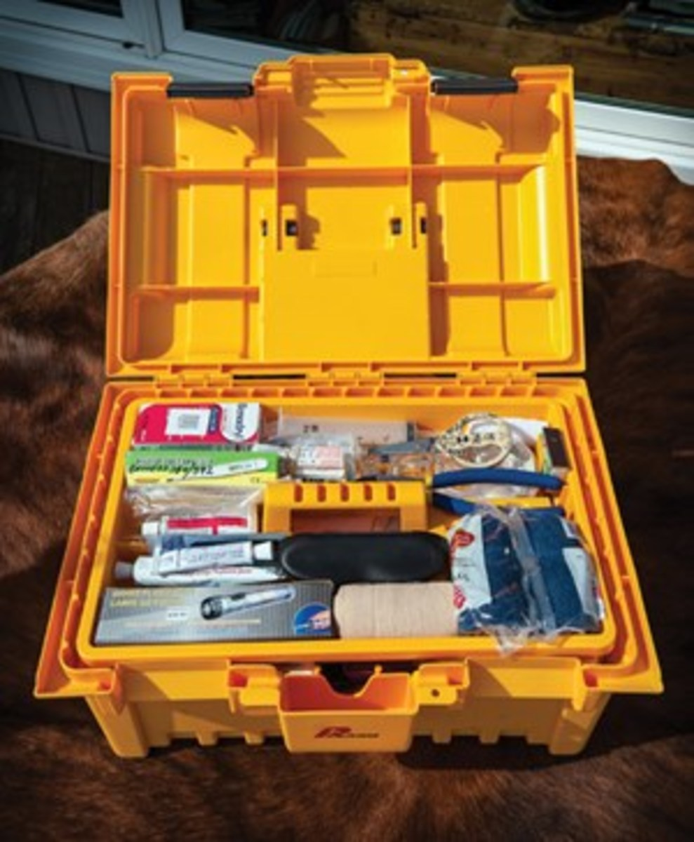 Place the first-aid items in a lightweight, sealable, moisture-proof container, such as a plastic or  metal toolkit or fishing tackle box.