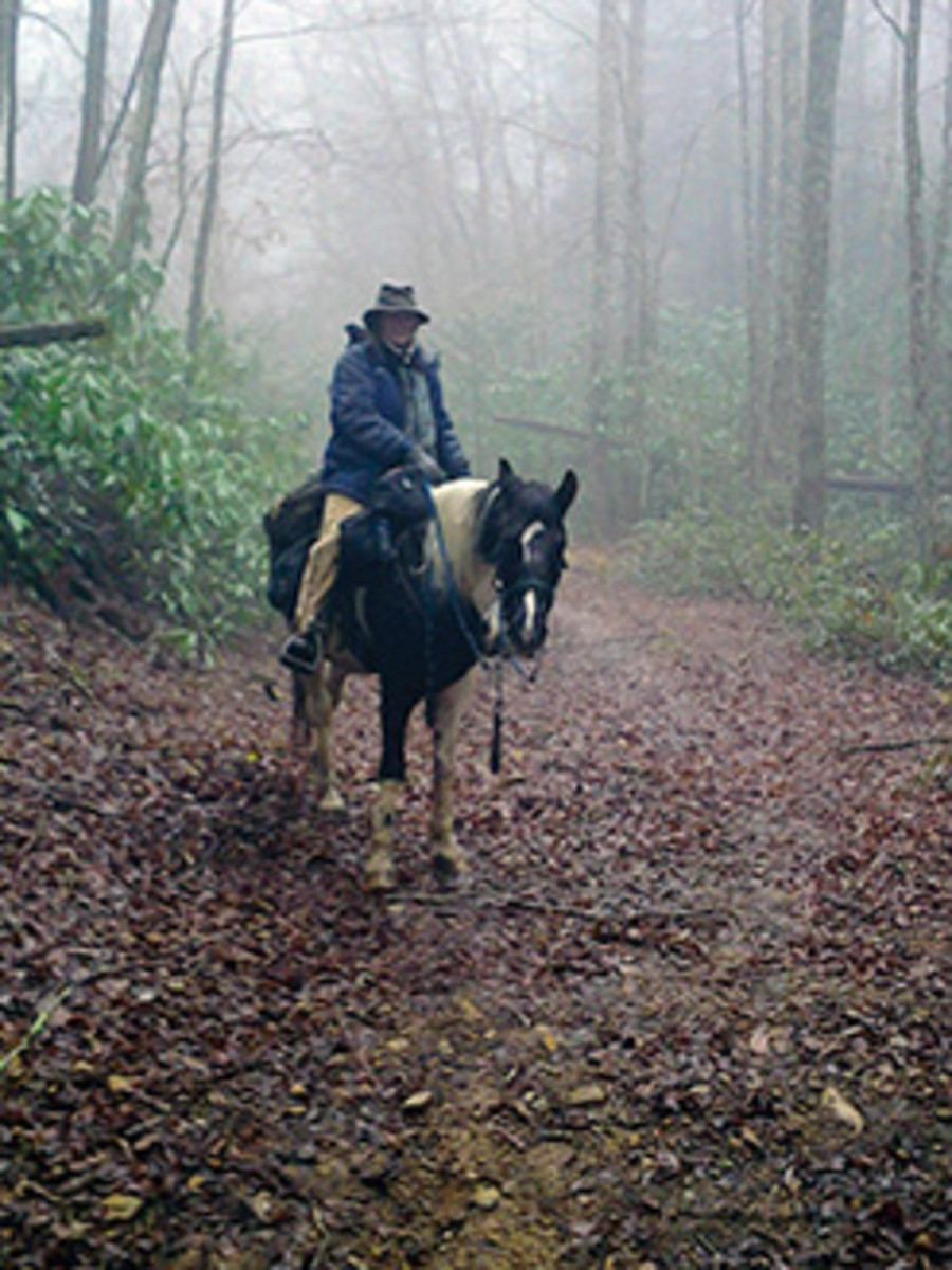 Tori Tolliver and her tough mountain horse, Comanche, pause on a misty mountain trail in the Appalachians.